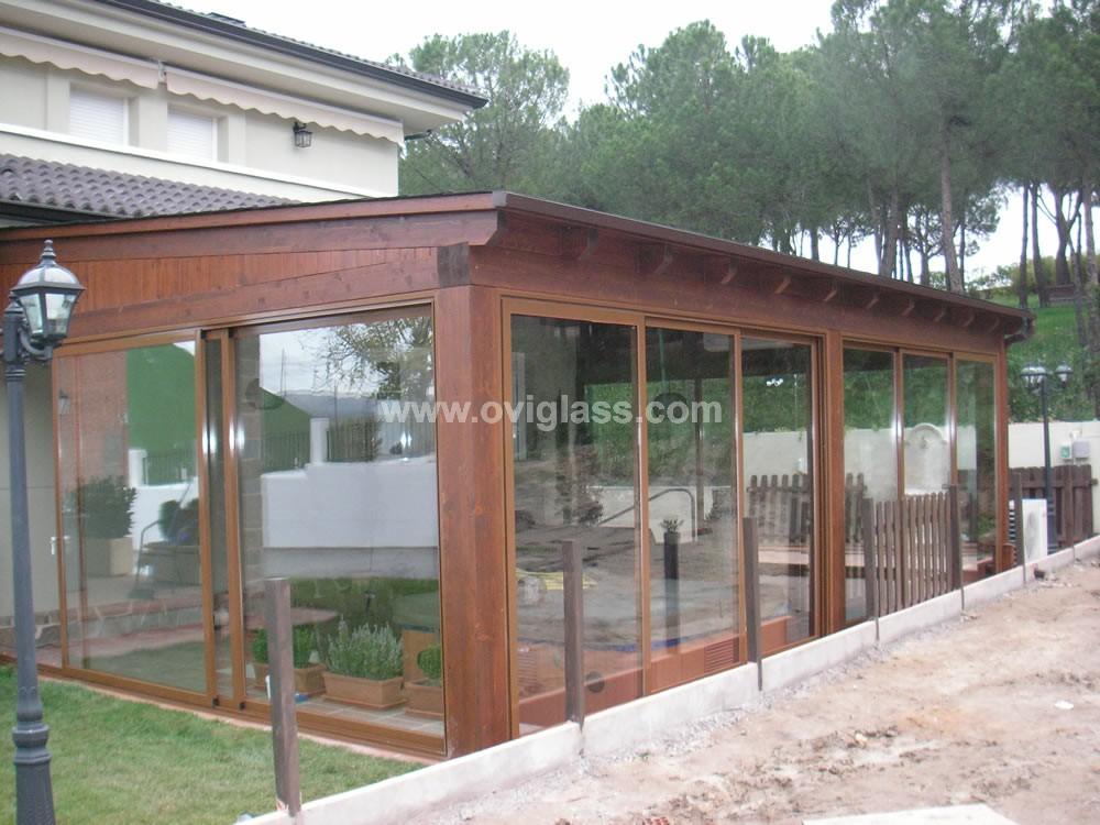 Porches de madera cubierta jardin ventilada madera - Porches de madera cerrados ...
